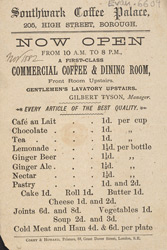 Advert for the Southwark Coffee Palace